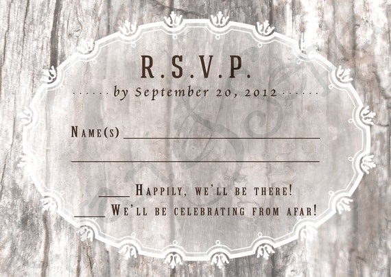 Printable Wedding Invitation RSVP - 3.5x5 - Wood and Flourishes - Vintage, Rustic, Woodland, Tree - Brown, Tan, Grey, Gray, White
