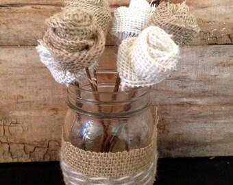 Burlap Flower Mason Jar Centerpiece