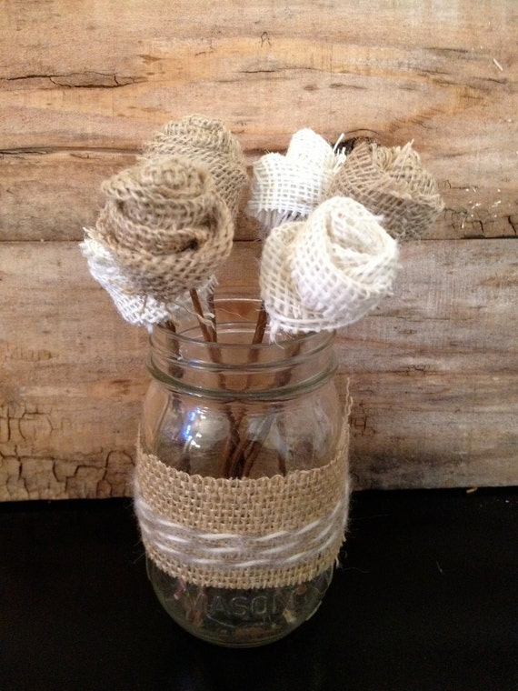 Items similar to burlap flower mason jar centerpiece on etsy