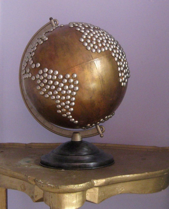 Nailhead Metal Globe via Fluxlux on Etsy, featured at Spool and Spoon