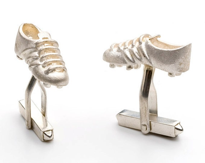 "Cufflinks, silver, matt finished, ""footballshoes"", solid clenched mechanic."