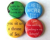 Buddy the Elf Pinback Button Set of 4 Favorite Christmas Movie Quotes Holiday Decor Stocking Stuffer Pins