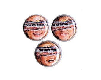 Eternal Sunshine of the Spotless Mind Pinback Button Set of 3 Badge Pin Movie Clementine Montauk