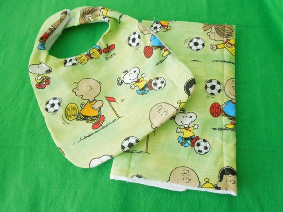 Charlie Brown's soccer bib and burp cloth set
