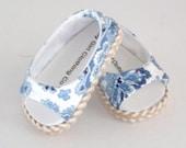 Ralph Lauren Carolina Blue Paisley Open Toe Shoe