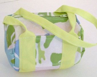 Green and Blue Flowered Gym Bag