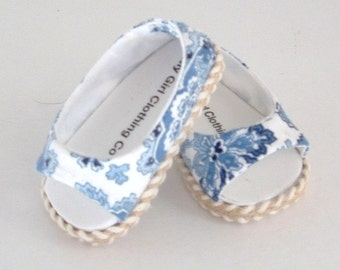 Ralph Lauren Carolina Blue Paisley Open Toe Shoe