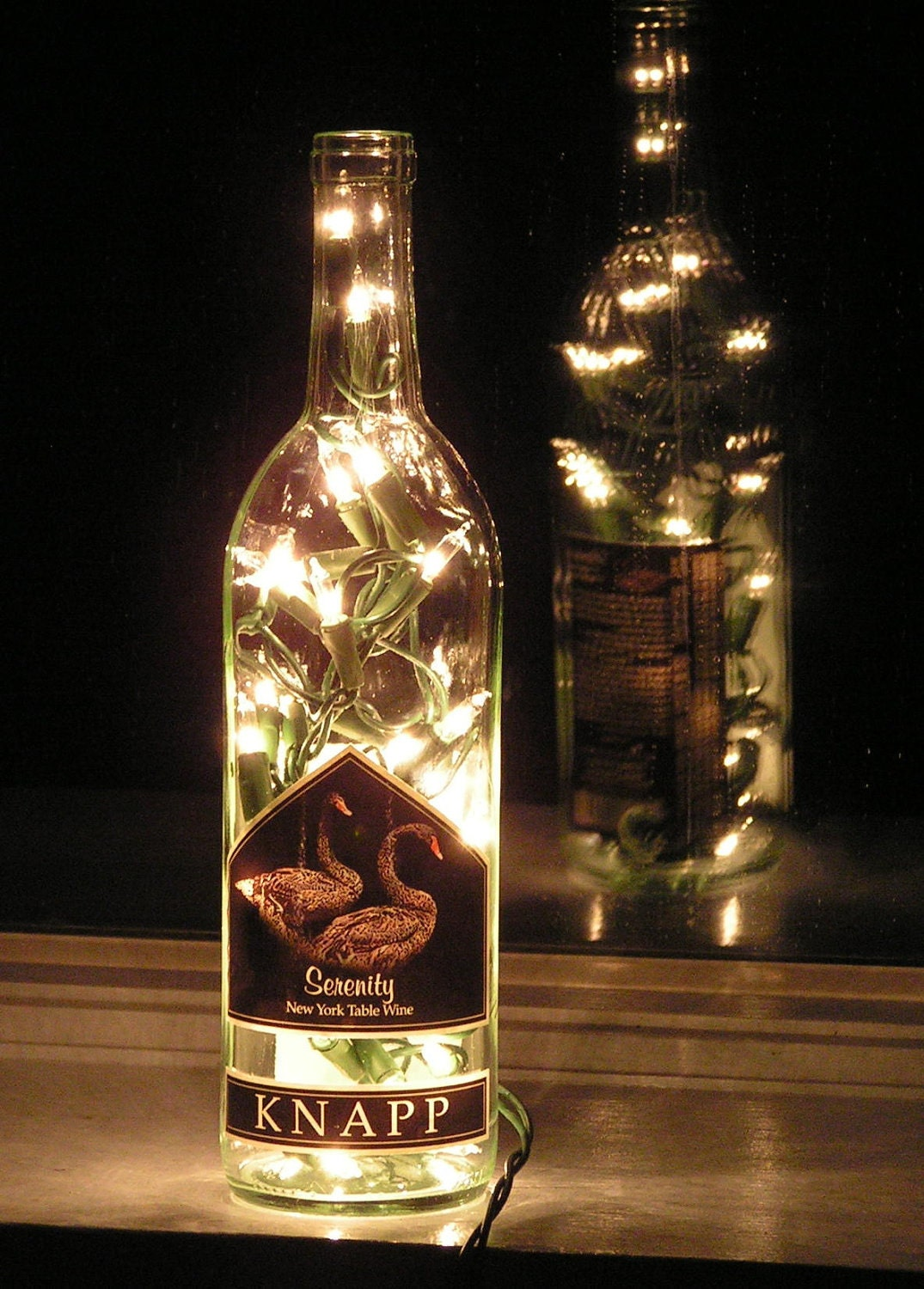 Clear Wine Bottle Light With White Lights Serenity