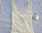 vintage white camisole with lace -Cinema Etoile - mint condition - M