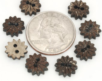 24 Buttons, natural material coconut shell buttons, gear wheel ,  for jewelry,sewing,embellishment
