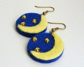 Midnight - blue and yellow felt earring with moon and stars - Gift idea - Free shipping within the UK