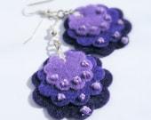 Beaded Lavender - Purple, lilac, lavender felt flower earrings - Gift idea - Free shipping within the UK
