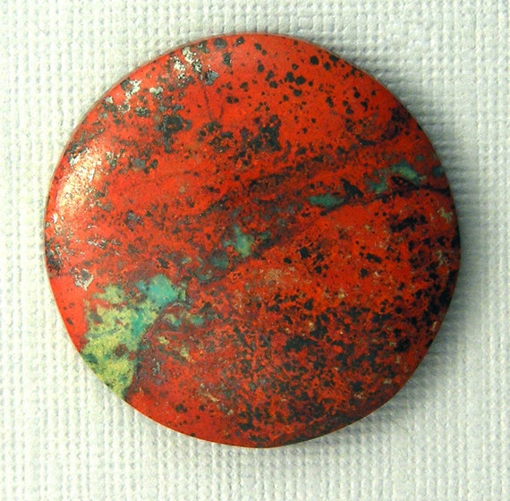 Sonora Sunrise Chrysocolla Cabochon - Hand Cut Designer Freeform Round Cabochon - Sonora Sunrise Chrysocolla