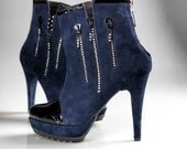 High Heels - Handmade leather booties, blue & black with sparkled zips - made to order - 30% OFF