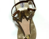 10% OFF - SANDALS- Golden flat greek sandals with crown design - made to order