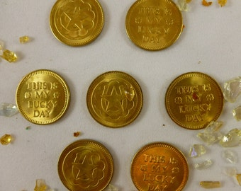 St Patrick Day, Irish Lucky Coins, Vintage Brass Coins, Seven Vintage Coins, Good Luck Coins, My Lucky Day