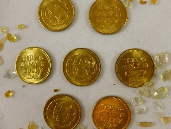 LUCKY COINS - 77 Lucky Coins for  7 dollars and 77 cents -  Original Brass Lucky Coins // FunkAndMore Vintage Chic