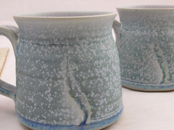 Set of 2 Beautiful Speckled Blue Vintage Stoneware, Ceramic Serving Coffee Mugs - Perfect For That Early Morning Cup of Java