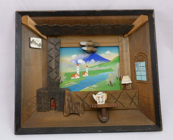 Framed JAPANESE FOLK ART - Mixed Media Collage - View of Mt. Fuji From the Living Room - Vintage Japanese Art