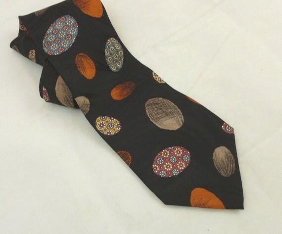 Vintage Silk Tie,   Made in Italy,   Retro Mad Men Tie,  Vietri   Italian Designer, Easter Egg Design, Retro Apparel