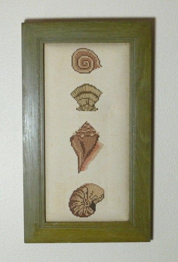 VINTAGE NEEDLEPOINT Seashell Art WALL  Framed Coastal  // FunkAndMore Vintage Chic