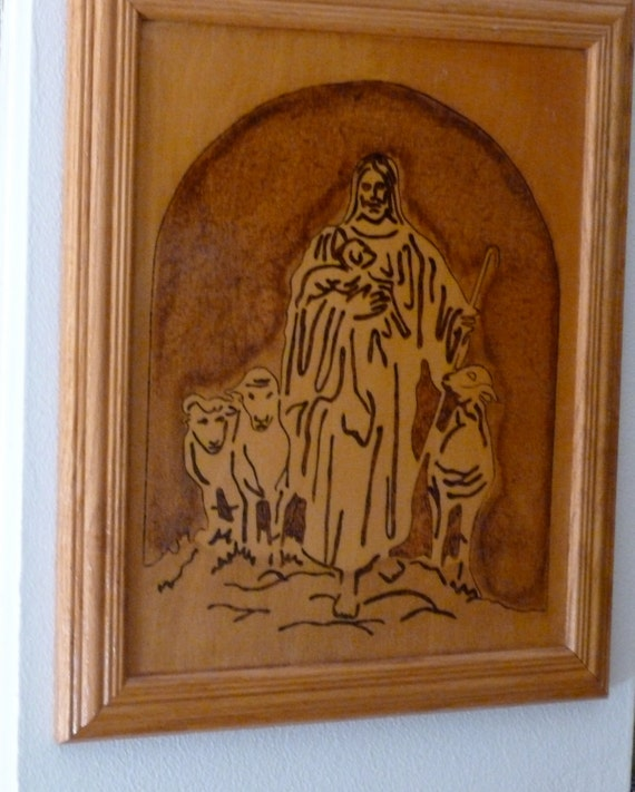 Wall Decor Jesus : Kitsch wood burning jesus wall hanging pyrography