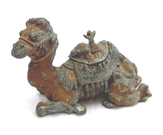 Antique Inkwell Vessels,  Sitting Camel Figurine, Art Nouveau Art Deco Decor,   Exotic Desk Accessory, Cold Painted Metal Spelter