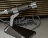 Vintage microphone with stand, new old stock in original box, Slim Dynamic 33-918 Realistic, made in Japan