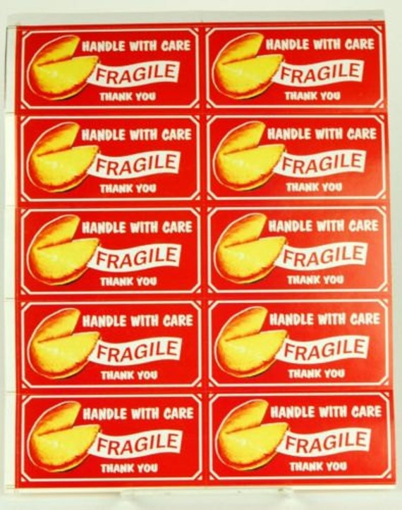 Kitschy Handle with Care Stickers for Shipping Fragile Items