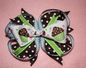 Large cupcake bow on a clip