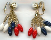 Vintage Dangle Earrings.  Signed Hong Kong, Clip Style, Red, White, Blue Dangle Beads and Gold Tone