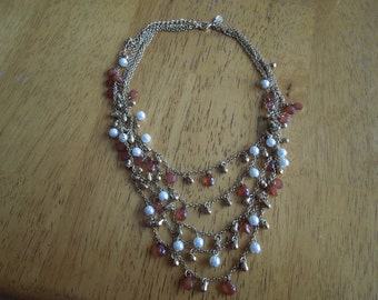 Vintage Premier Designs Necklace.  Gold Tone, 5 Strands with Faux Pearls, Gold Beads and Amber Beads