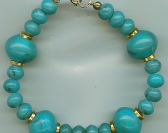 Vintage Turquoise Bracelet with Gold Tone.  Non Flexible, Approx 8 Inches.  Faux Turquoise