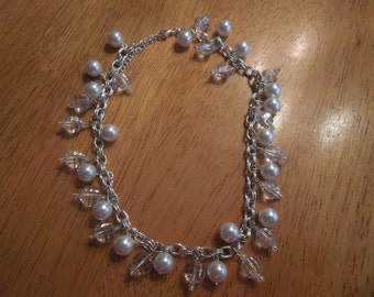 Vintage Pearl Necklace in Silver Tone with Clear Beads.  Excellent Condition