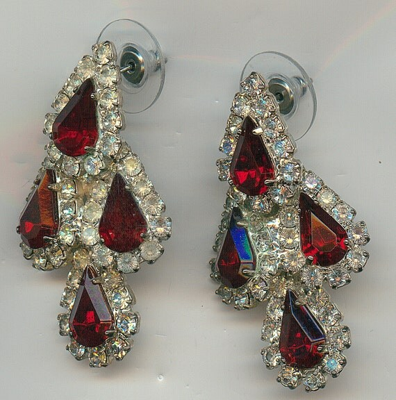 Vintage Dangle Earrings with Large Red Stones and Clear Rhinestones, Super Elegant