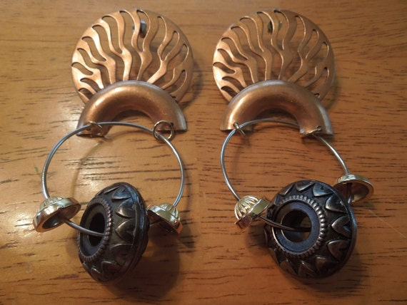 Vintage Large Earrings, African Style, with Copper and Charms, Post Style, 3.75 Inches Long