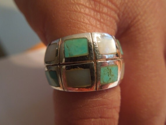 Vintage Silver Ring with Turquoise and Mother of Pearl, Size 5, in Excellent Condition
