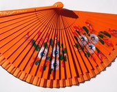RESERVED for LOUISE Orange Tangerine Fan Vintage wood hand painted  60s -70s