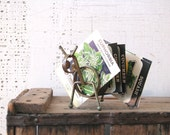 metal spring animal letter holder -insect/animal vintage desk decor green rusty patina home office decor