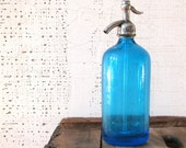 blue seltzer bottle brooklyn '58 marked bar ware / alcohol access. urban decor new york