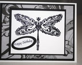 "Card ""Embossed Dragonfly"""