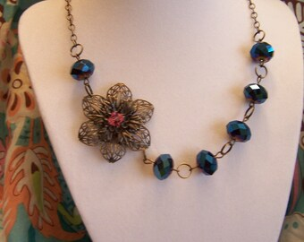 Vintage Brass Floral Crystal Necklace