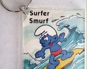80s Surfer Smurf Keychain-Plastic Rectangular-upcycled-Interchangeable