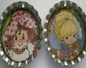 80s cartoon Bottlecap Supplies- 2 bottlecaps with holes-Rainbow Brite-Strawberry Shortcake