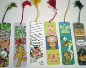 Vintage Garfield Bookmarks- Lot of 6- with tassels- 80s and early 90s variety