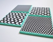 Black and White Polka Dot Teal Turquoise Ceramic Tile Coasters Gift Drink Set