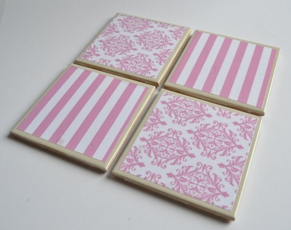 Pink and White Damask Stripe Ceramic Tile Coaster Drink Gift Set