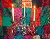 VINTAGE Wall Sconce Candleholder Chandelier Crystals