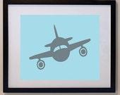 Custom Children's Airplane Print 11 x 14. nursery art personalized plane art