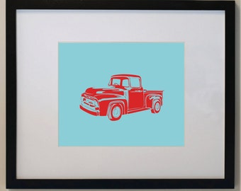 Personalized Children's Vintage Pick Up Truck Print 8 x 10. nursery wall art